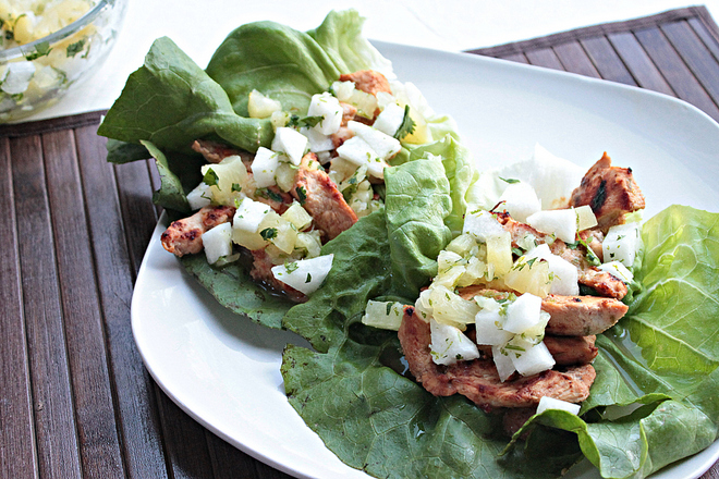 Thai Chicken Lettuce Wraps with Pineapple Jicama Slaw