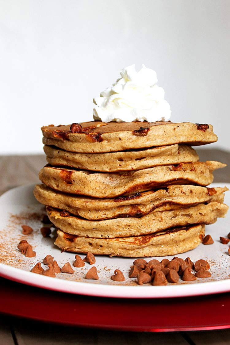 Eggnog Cinnamon Chip Pancakes via Fabtastic Eats #eggnog #cinnamonchips #pancakes