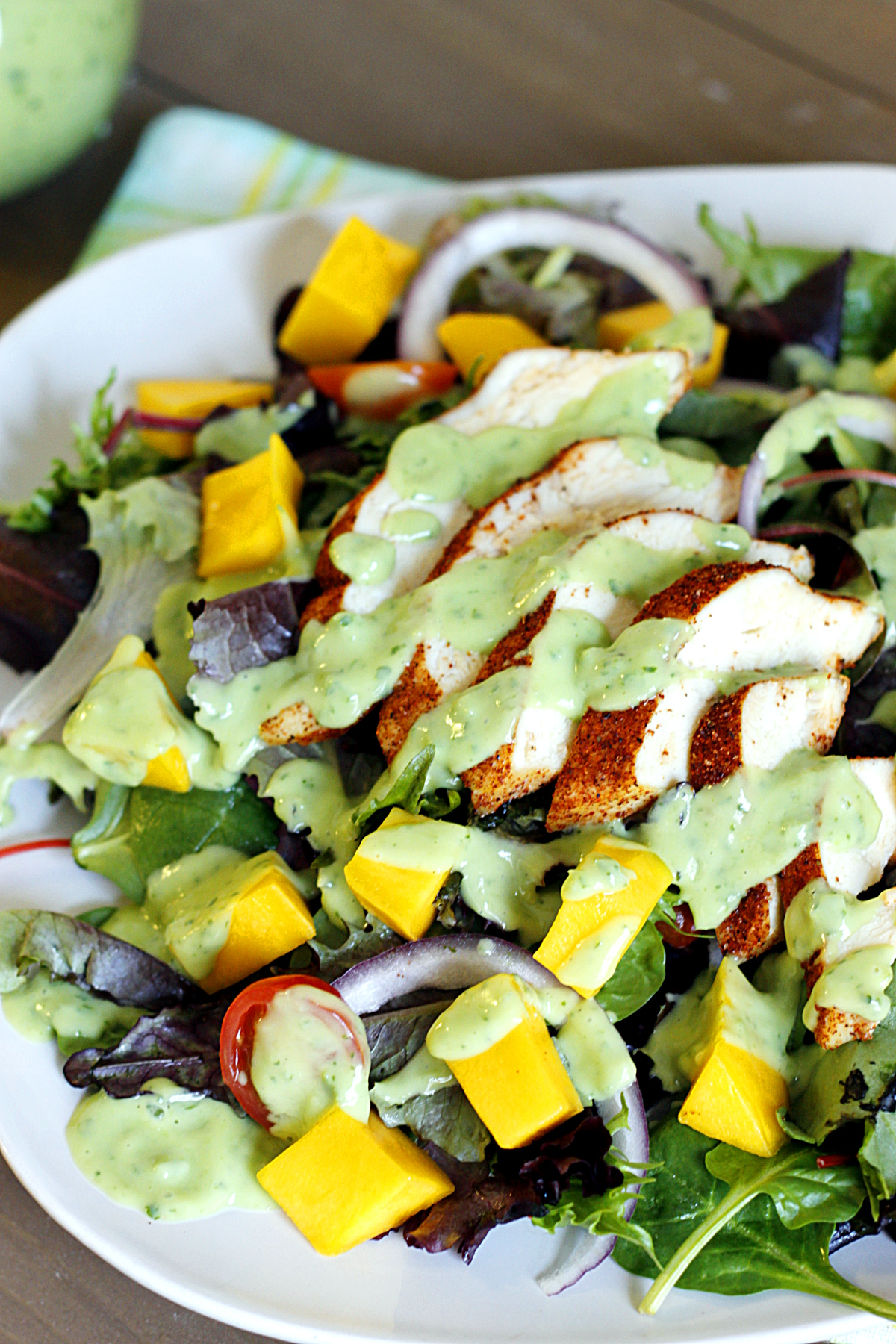 Blackened Chicken and Mango Salad with Creamy Avocado Dressing