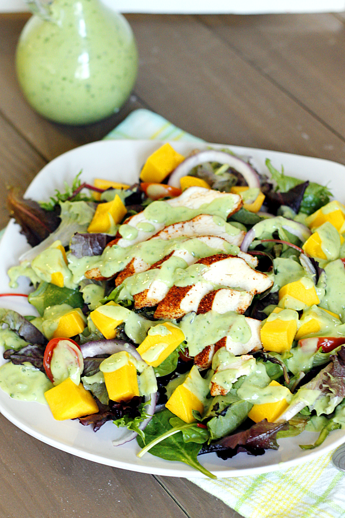 Blackened Chicken and Mango Salad with Avocado Cream Dressing