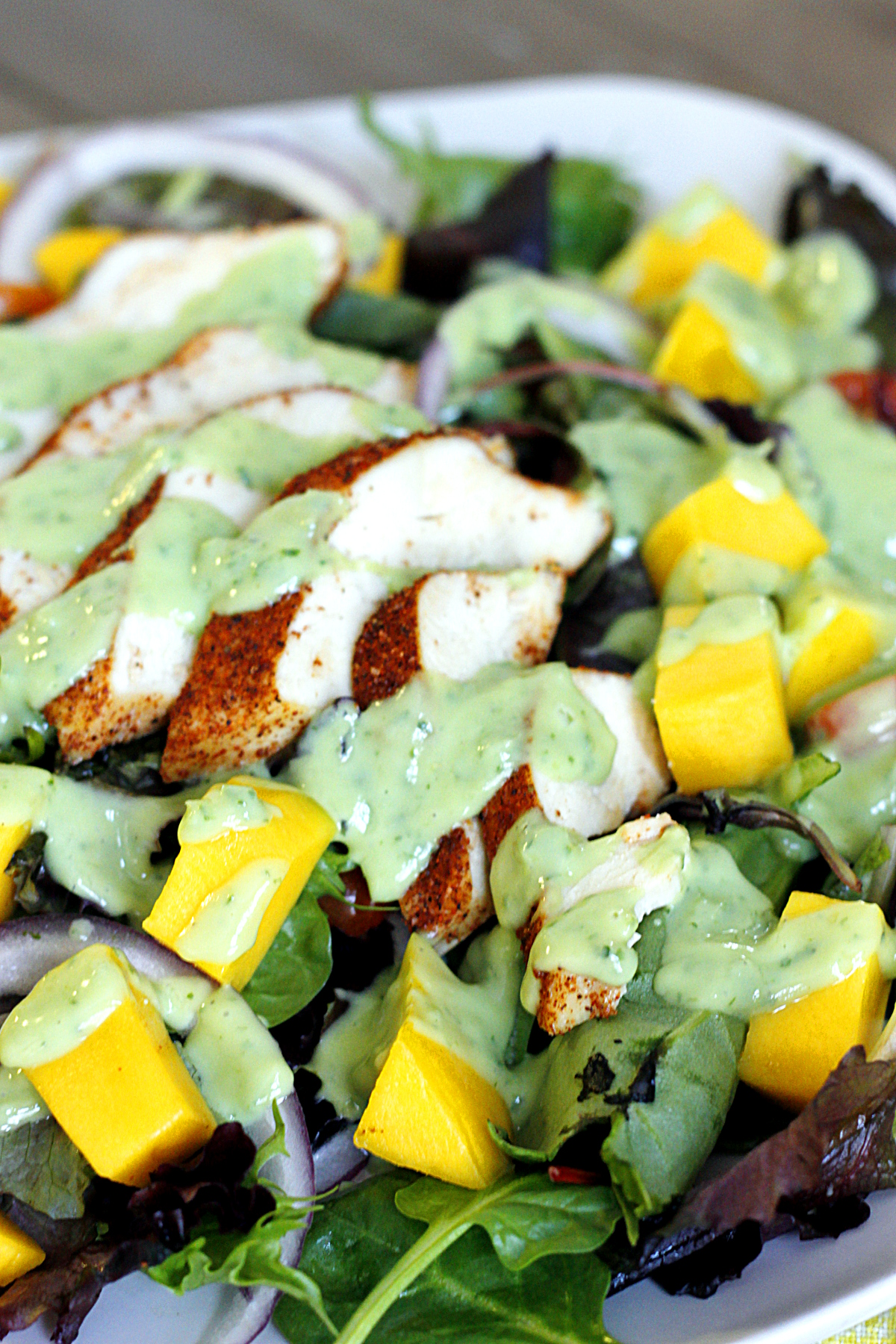 ... Chicken and Mango Salad with Creamy Avocado Dressing - belle vie
