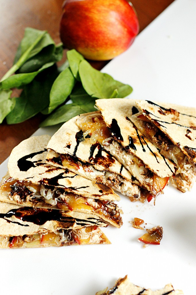 Caramelized Nectarine and Feta Quesadilla with a Balsamic Glaze