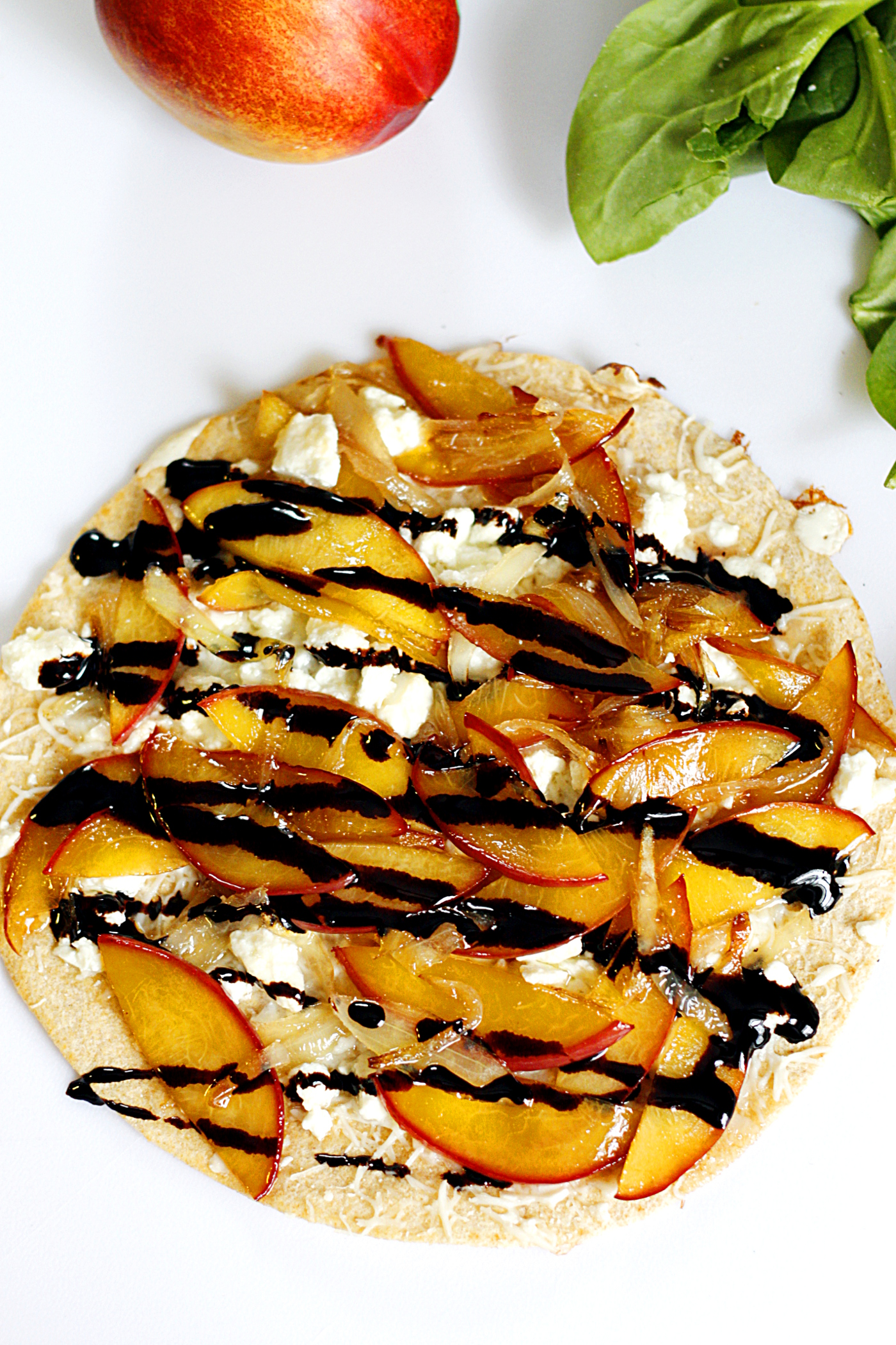 Caramelized Nectarine and Feta Quesadilla with a Balsamic Glaze