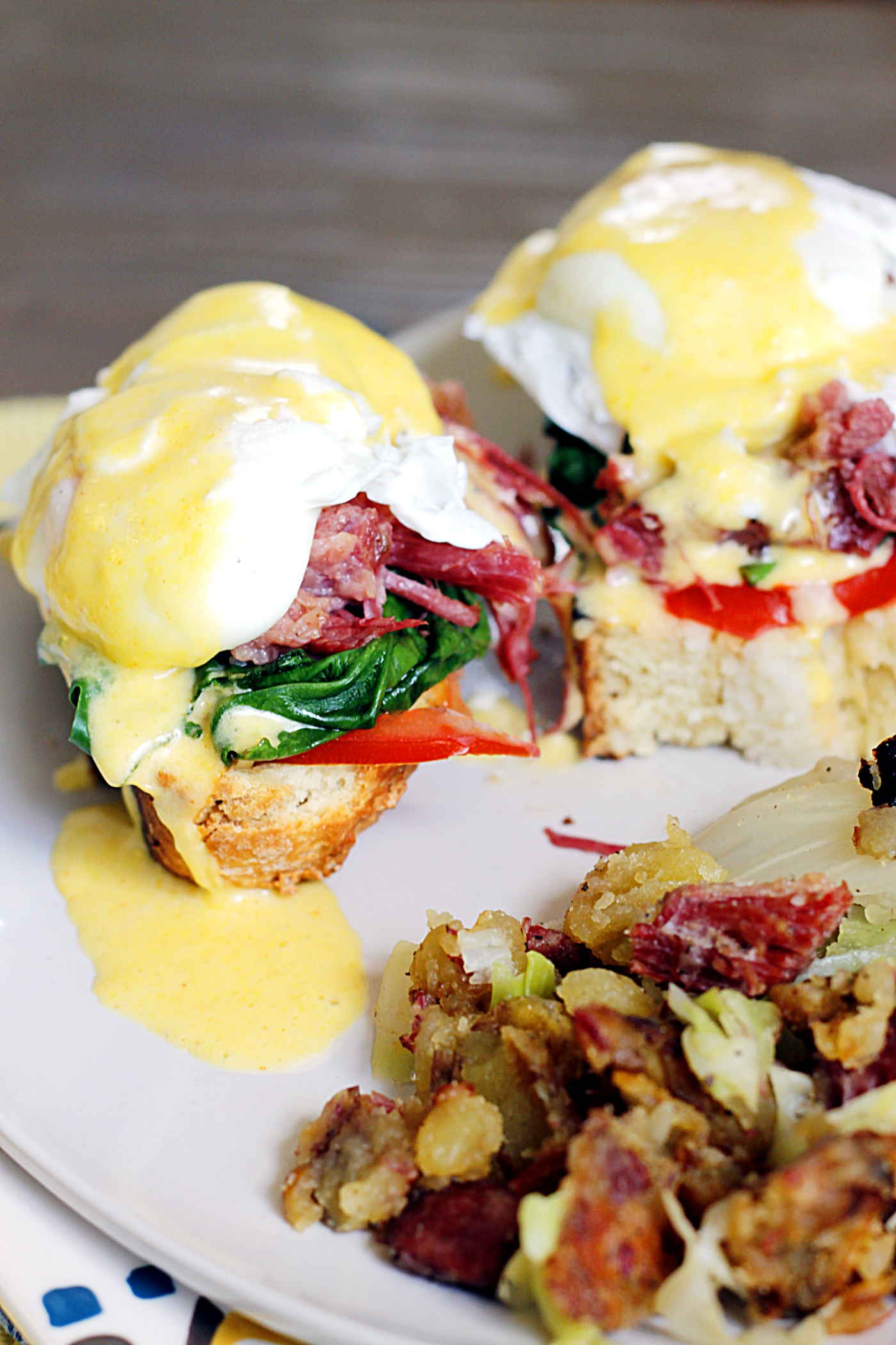 Irish Eggs Benedict with Corned Beef and Cabbage Hash
