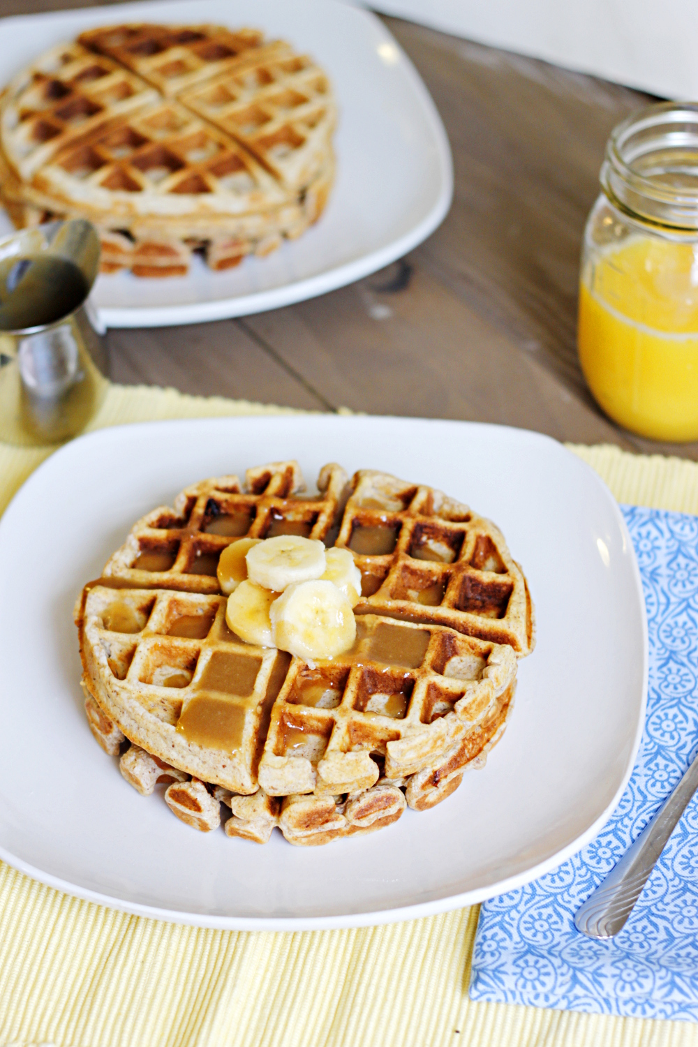 belle vie - Banana Waffles with Peanut Butter Maple Syrup - belle vie
