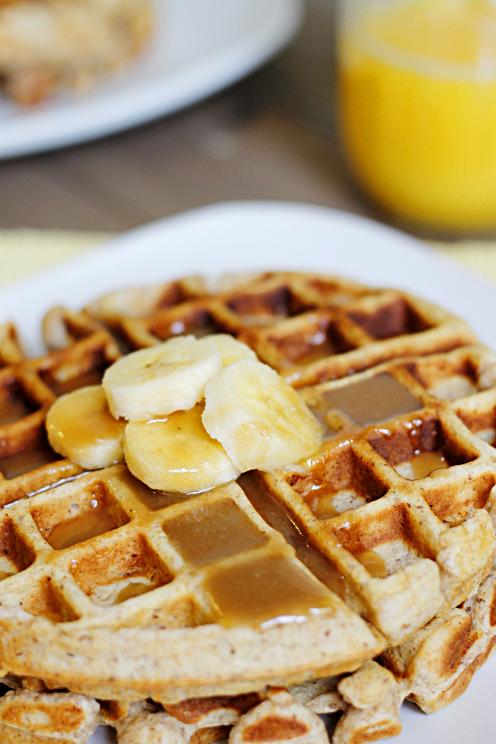 belle vie - Banana Waffles with Peanut Butter Maple Syrup ...