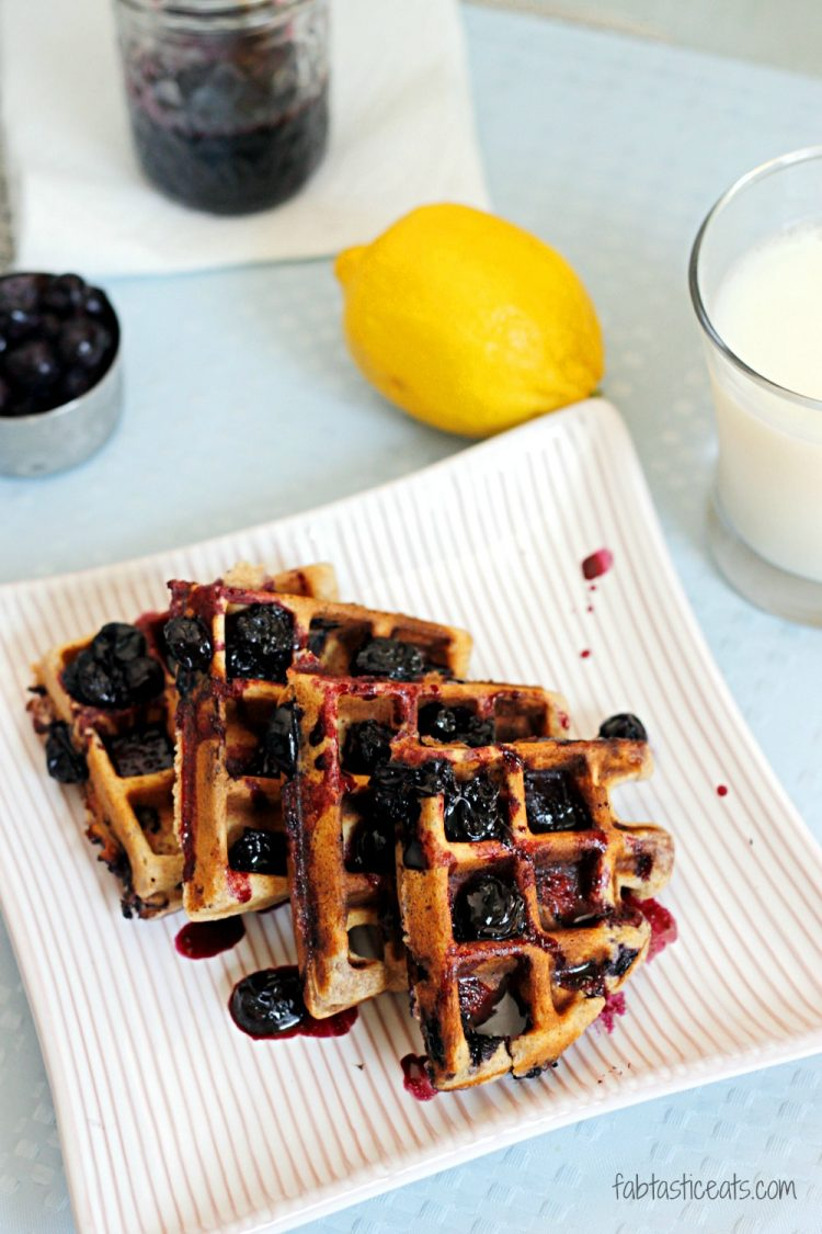 Whole Wheat Blueberry-Lemon Waffles with Blueberry Maple Syrup