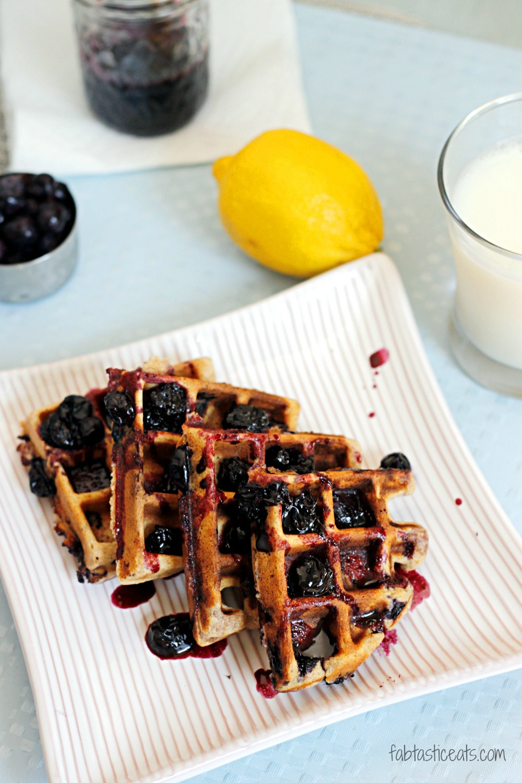 Whole Wheat Blueberry-Lemon Waffles with Blueberry Maple Syrup