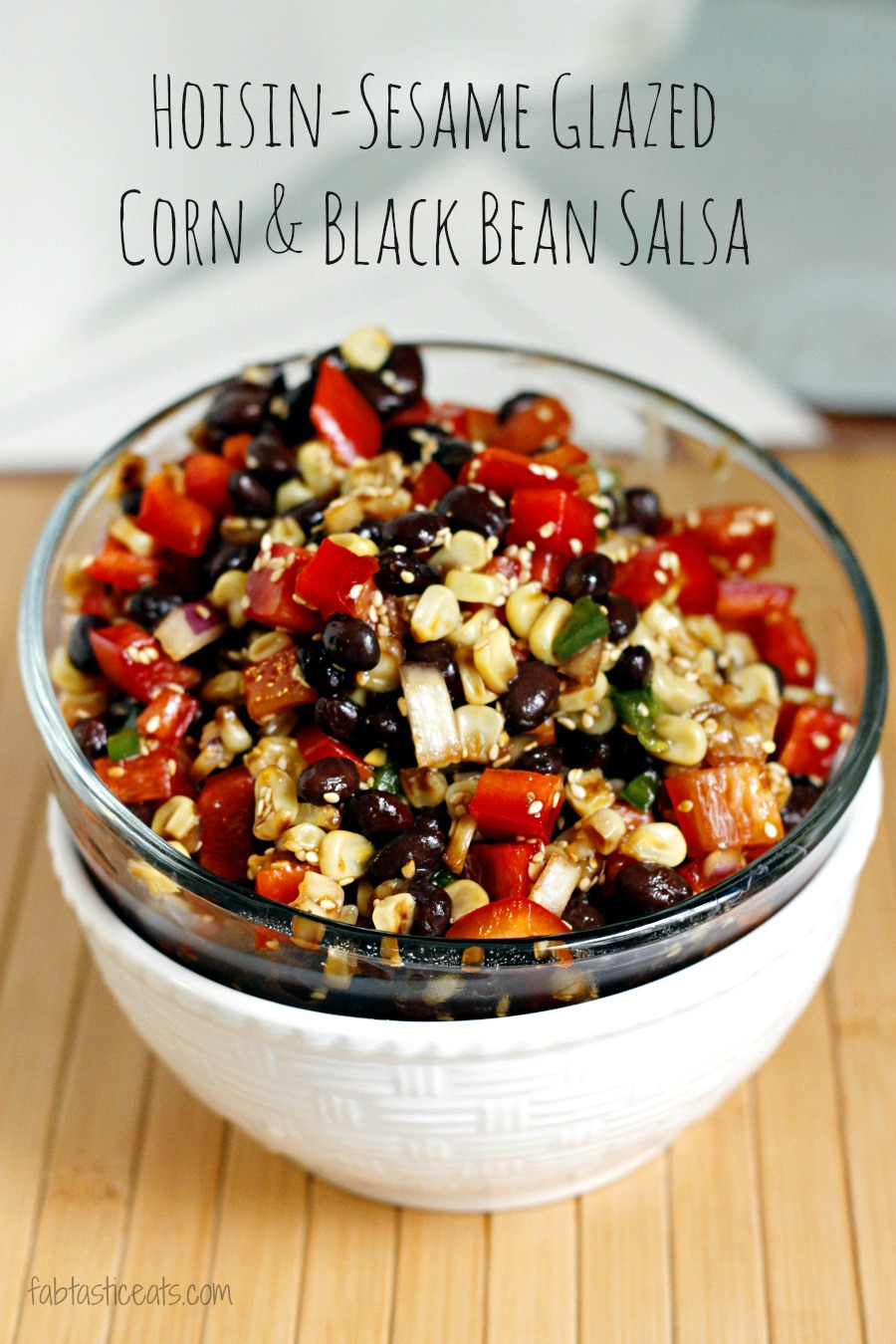 Hoisin-Sesame Glazed Roasted Corn and Black Bean Salsa