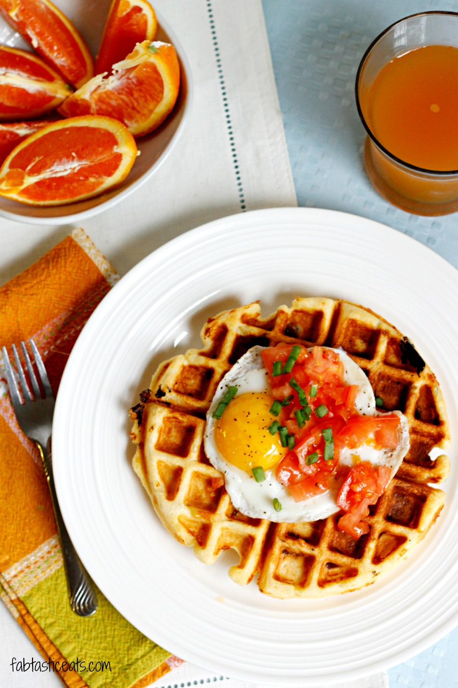 Cheddar Cornmeal Waffles with Eggs