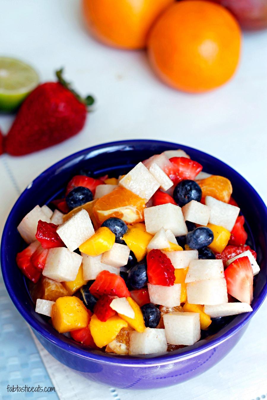 Jicama Fruit Salad with a Cinnamon Lime Glaze