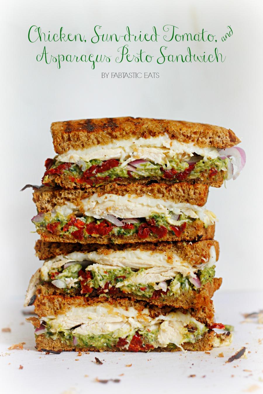 Chicken, Sun-dried Tomato, & Asparagus Pesto Sandwich | Fabtastic Eats