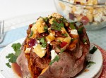 BBQ Pulled Pork & Nectarine Stuffed Sweet Potato