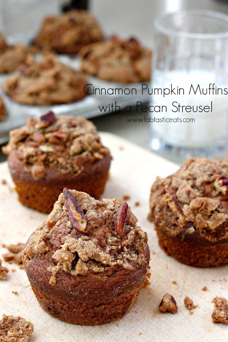 Cinnamon Pumpkin Muffins with a Pecan Streusel | Fabtastic Eats