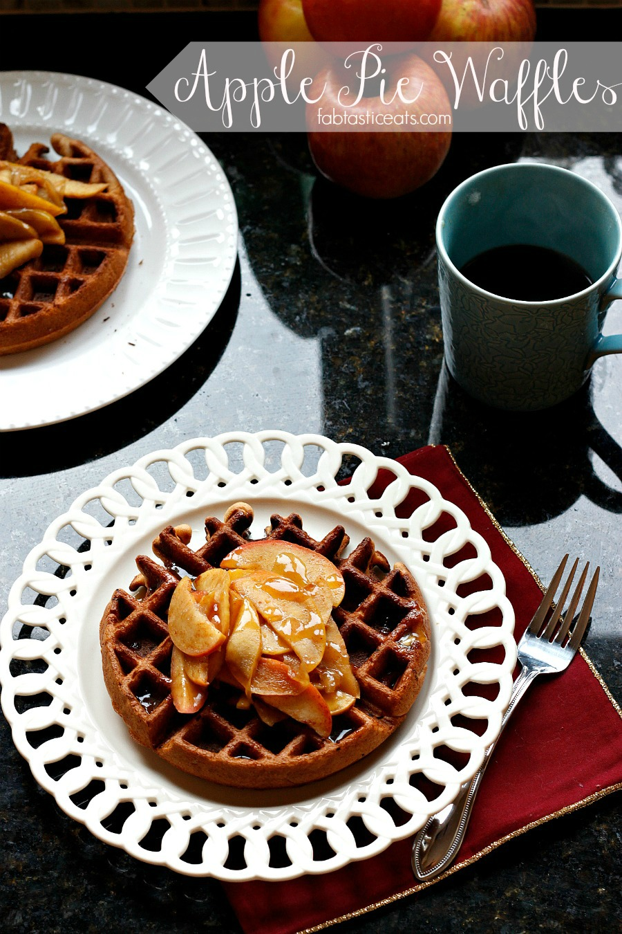 Apple Pie Waffles with a Cider Syrup