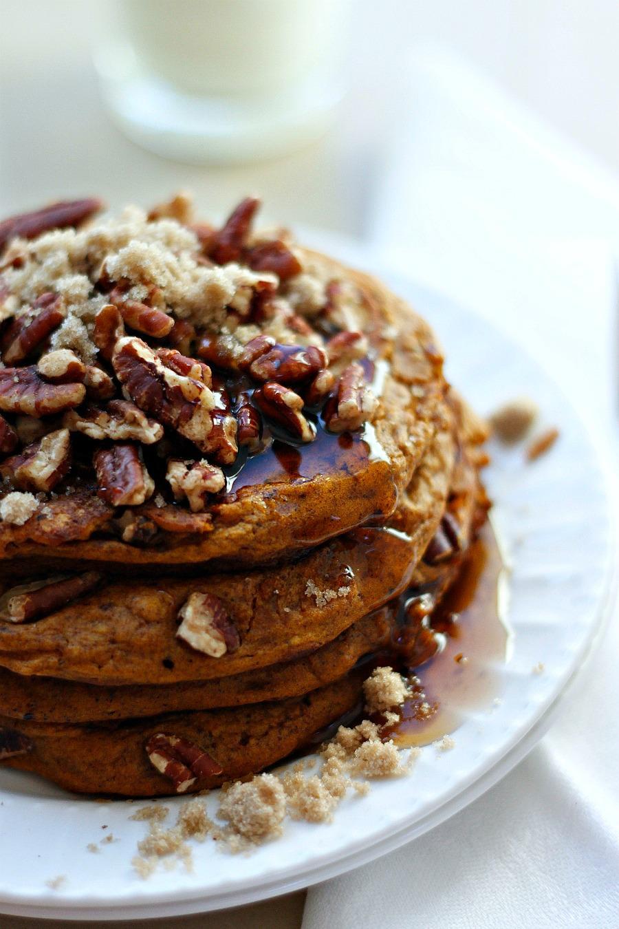 Pumpkin Brown Sugar Pecan Pancakes | Fabtastic Eats