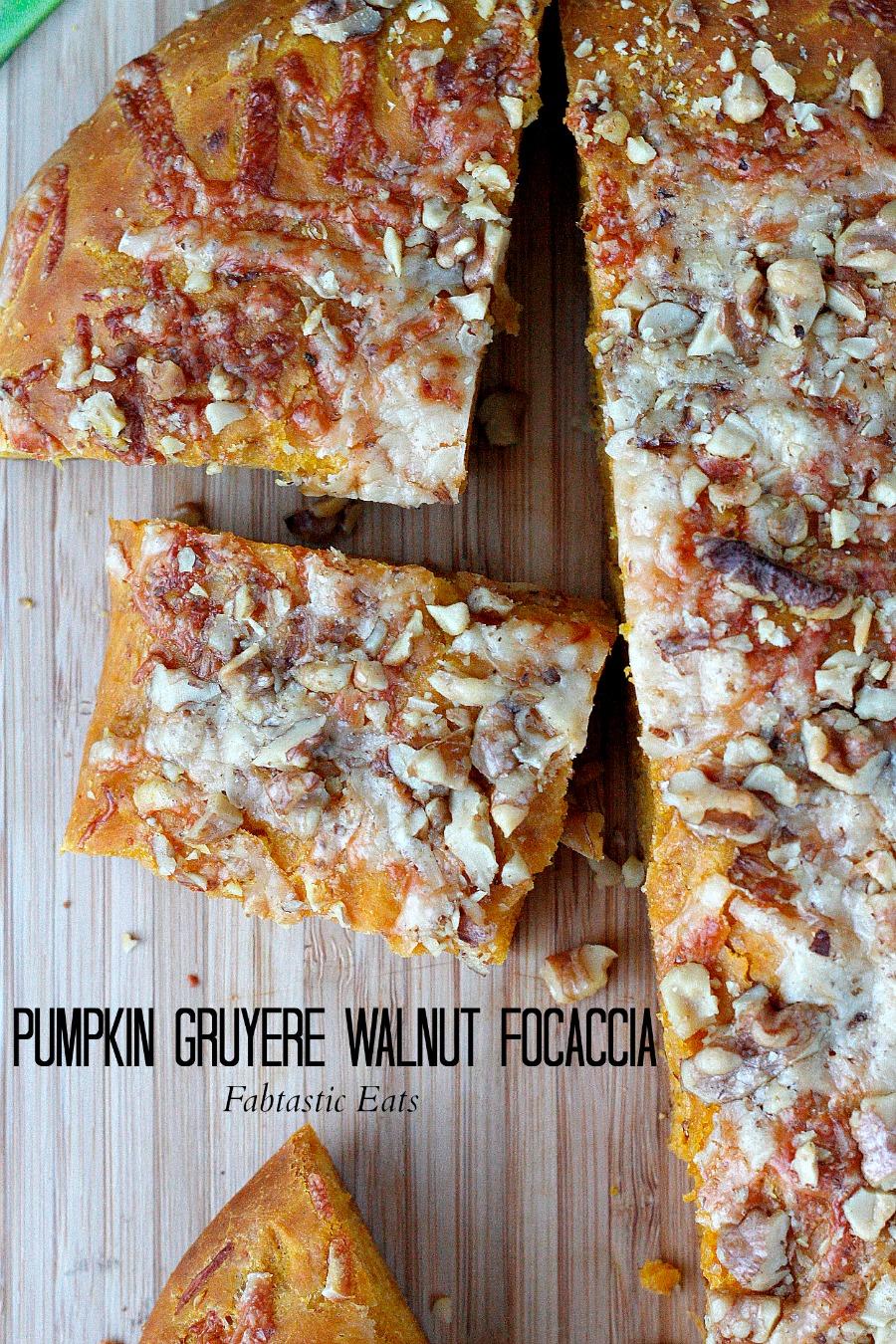 Pumpkin Gruyere Walnut Focaccia | Fabtastic Eats