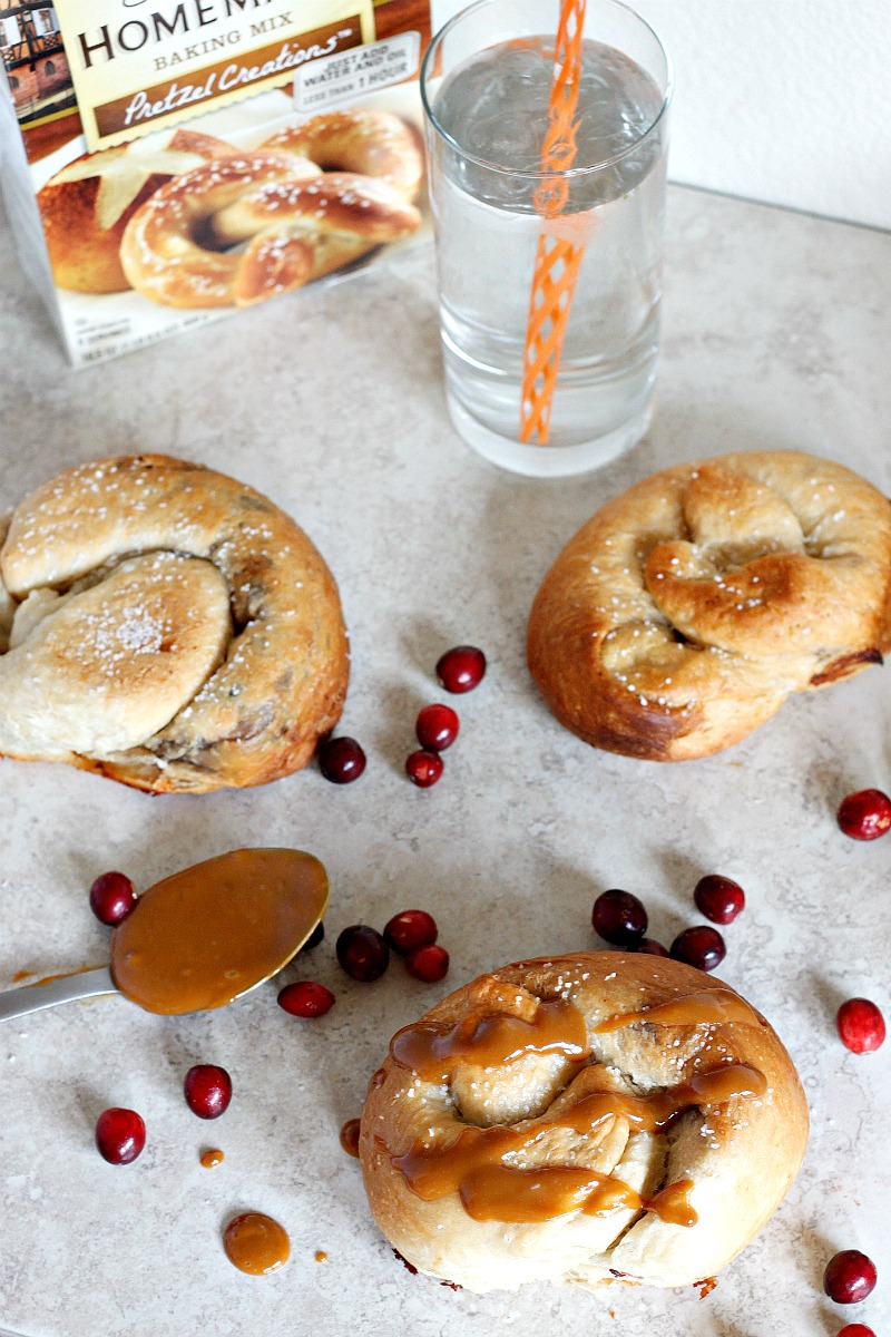 Caramelized Cranberries and Brie Stuffed Pretzels drizzled with Dulce de Leche | Fabtastic Eats