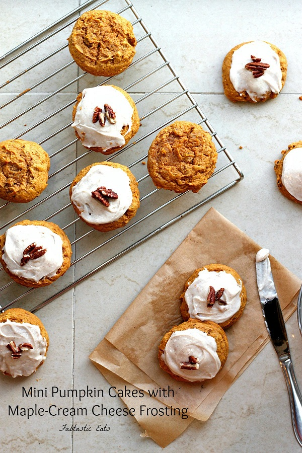 Mini Pumpkin Cakes with Maple Cream Cheese Frosting | Fabtastic Eats