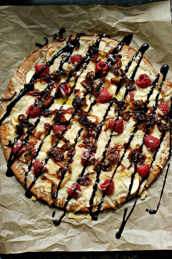 Raspberry, Apple, Gruyere Pizza with a Balsamic Glaze | Fabtastic Eats