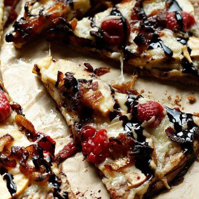 Raspberry, Apple, Gruyere Pizza with a Balsamic Glaze
