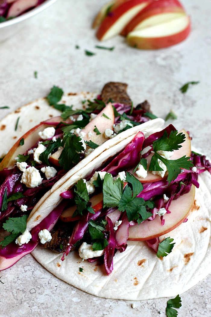 Cider Flank Steak Tacos with Red Cabbage Apple Slaw | Fabtastic Eats