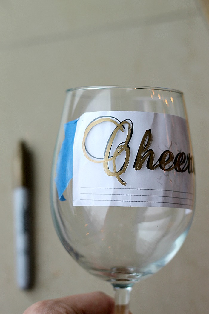 Belle vie diy wine glasses using sharpies belle vie for What paint do you use to paint wine glasses