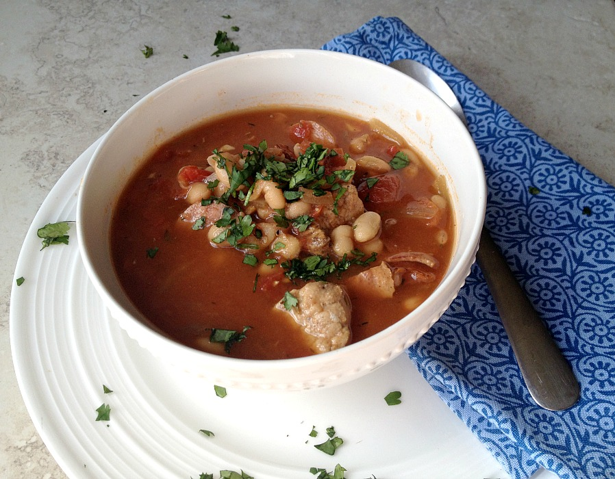 `Smoked Sausage, Pork, and White Bean Soup (Lightend up!) | Fabtastic Eats