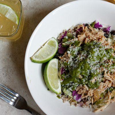 Pork Carnitas and Chimichurri Burrito Bowl