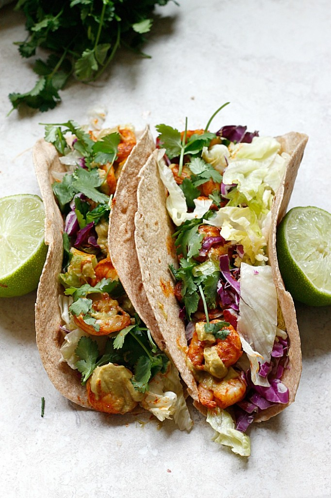 Spicy Shrimp Tacos with a Southwest Avocado Sauce | Fabtastic Eats