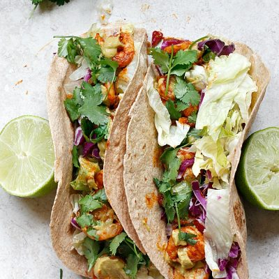 Spicy Shrimp Tacos with a Southwest Avocado Sauce
