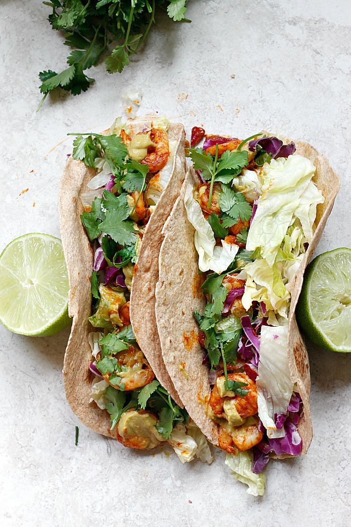 Spicy Shrimp Tacos with a Southwest Avocado Sauce   Fabtastic Eats