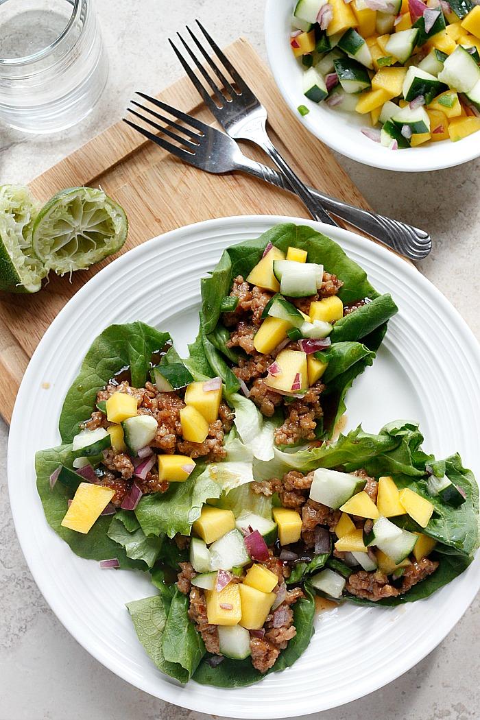 Hoisin Lime Pork Lettuce Wraps with a Cucumber Mango Salsa   Fabtastic Eats