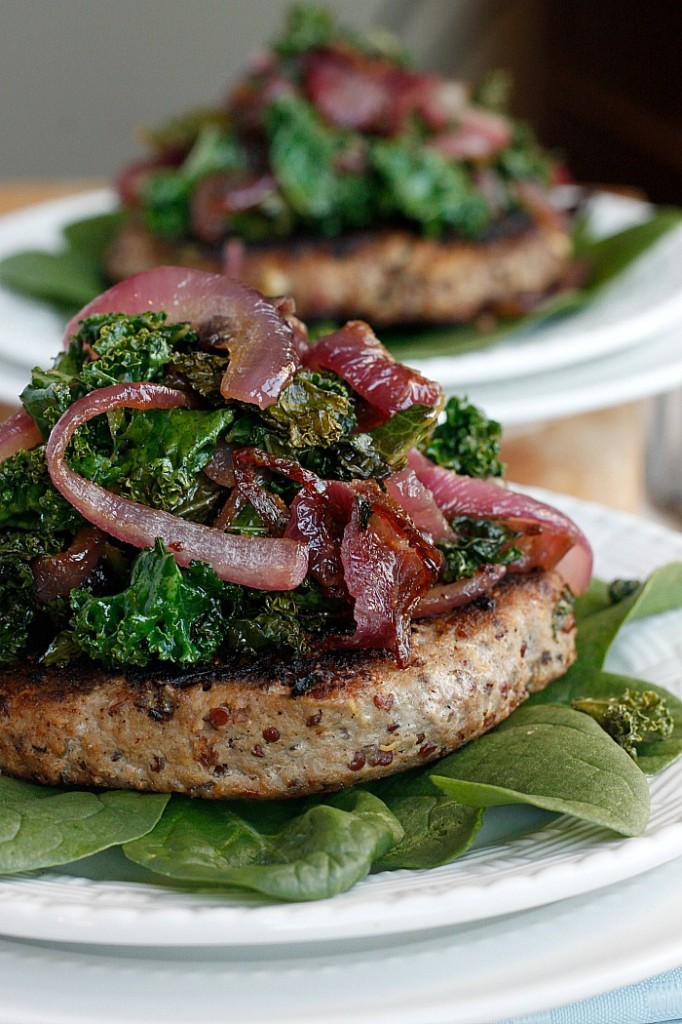 Quinoa Turkey Burgers with Caramelized Garlicky Kale and Onions | Fabtastic Eats