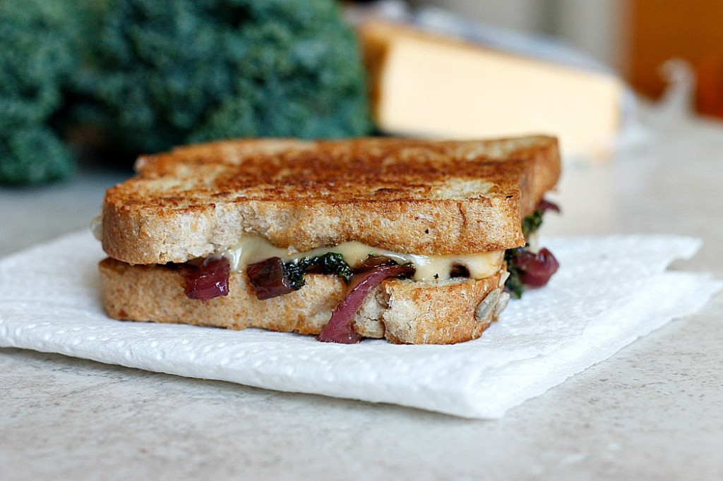 Caramelized Kale and Onion Grilled (Butter) Cheese | Fabtastic Eats