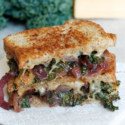 Caramelized Kale and Onion Grilled (Butter) Cheese