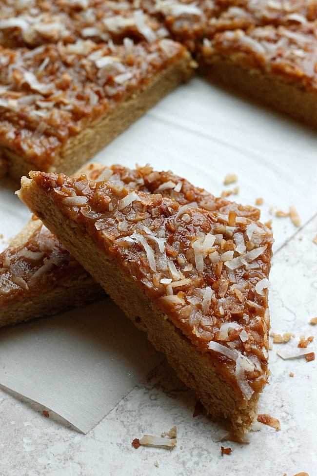 Biscoff Sugar Cookie Bars with Mascarpone Frosting and Toasted Coconut   Fabtastic Eats