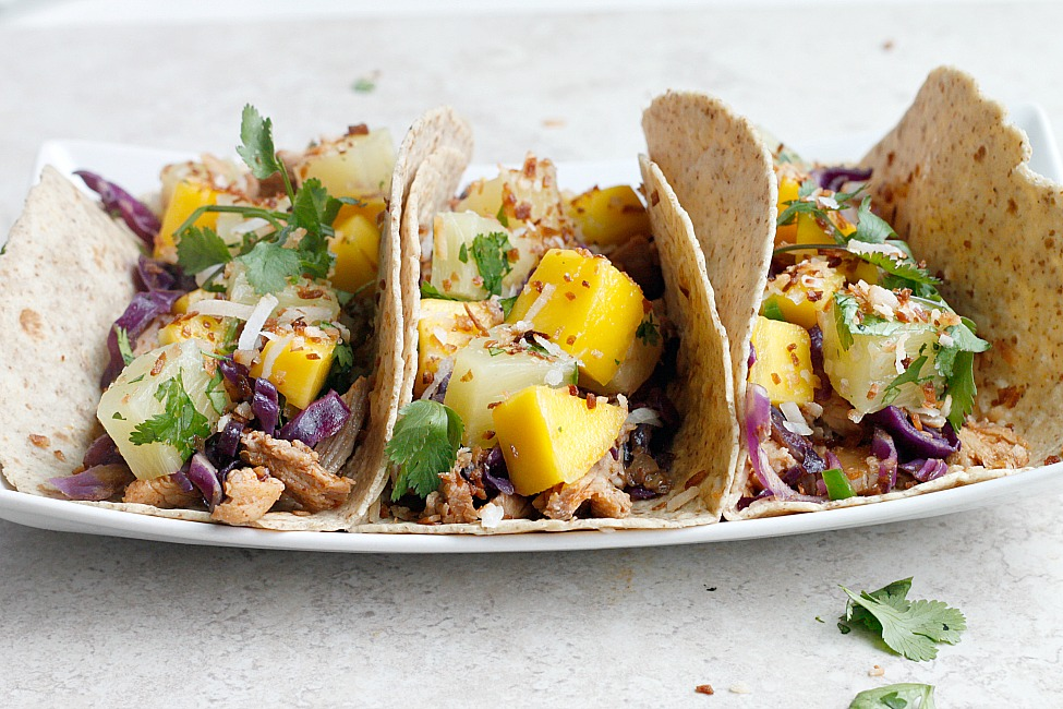 Pineapple Coconut Tacos with Mango Salsa and Toasted Coconut | Fabtastic Eats