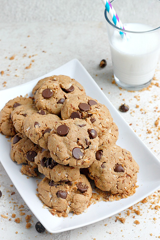 Coconut, Almond Butter, Mascarpone Chocolate Chip Cookies | Fabtastic Eats