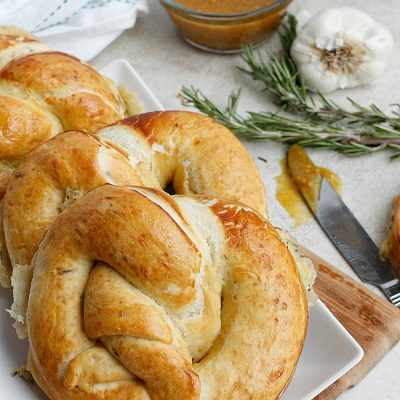 Roasted Garlic, Rosemary, and Cheddar Stuffed Pretzels