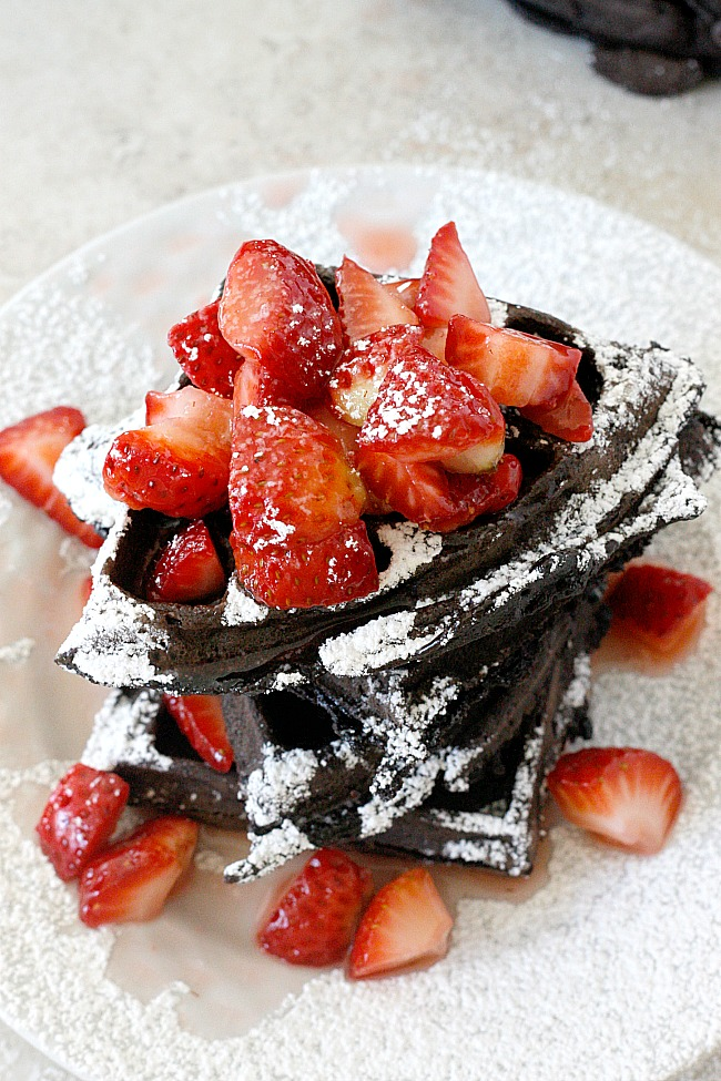Chocolate Coconut and Strawberry Waffles | Fabtastic Eats