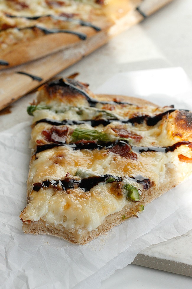 Four Cheese Asparagus and Pancetta Pizza with a Balsamic Glaze | Fabtastic Eats