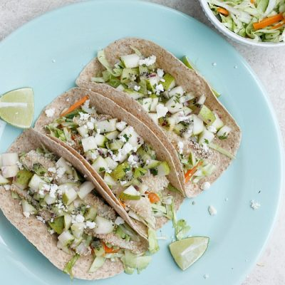 Crispy Tilapia Tacos with Spicy Cabbage Slaw and Pear-Kiwi Salsa