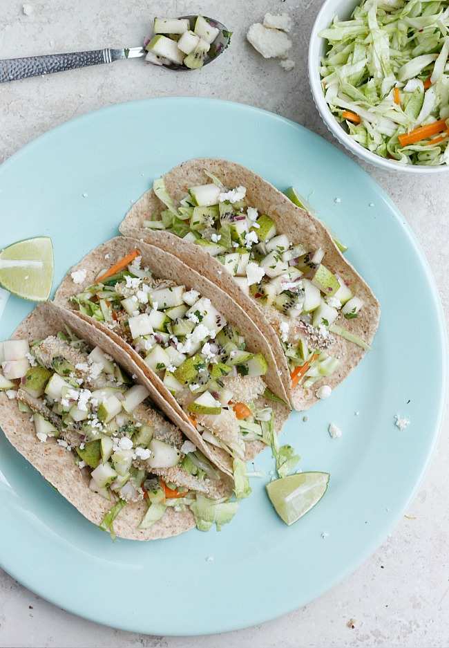 Crispy Tilapia Tacos with Spicy Cabbage Slaw and Pear-Kiwi Salsa   Fabtastic Eats
