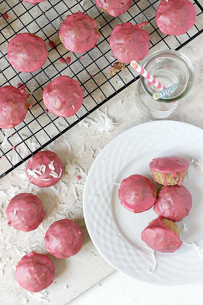 Blood Orange Glazed Coconut Whole Wheat Mini Muffins | Fabtastic Eats