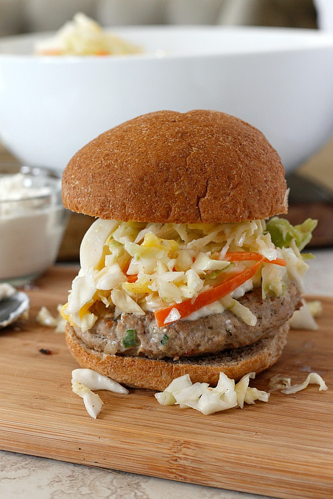 Jerk Turkey Burger with Creamy Feta and Mango-Apple Slaw | Fabtastic Eats