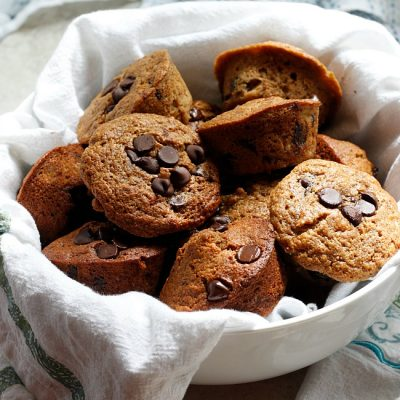Banana Chocolate Chip Whole Wheat Muffins (Healthier!)