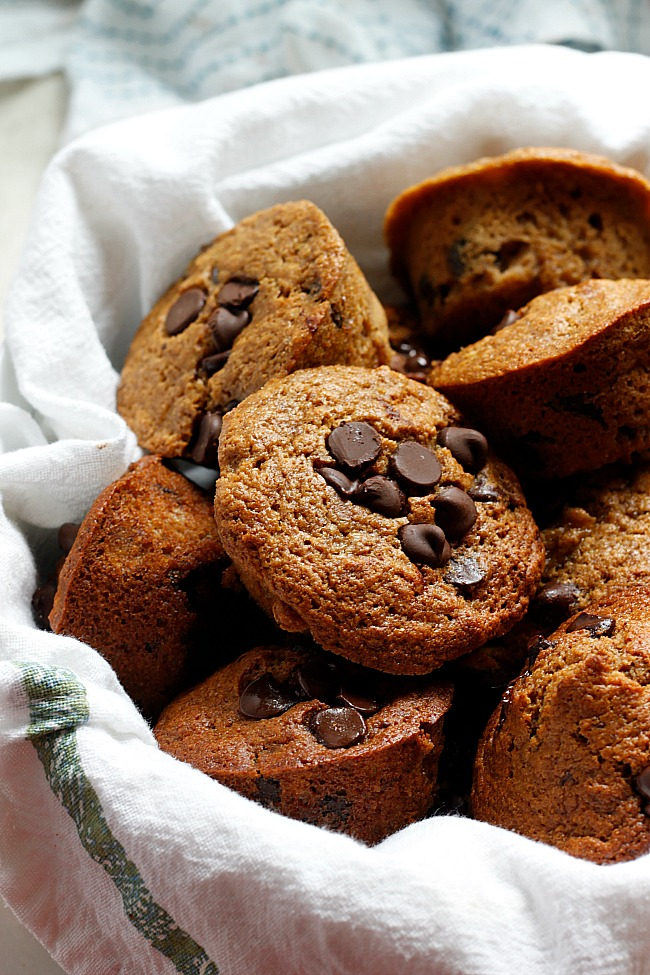 Banana Chocolate Chip Whole Wheat Muffins (Healthier!) | Fabtastic Eats