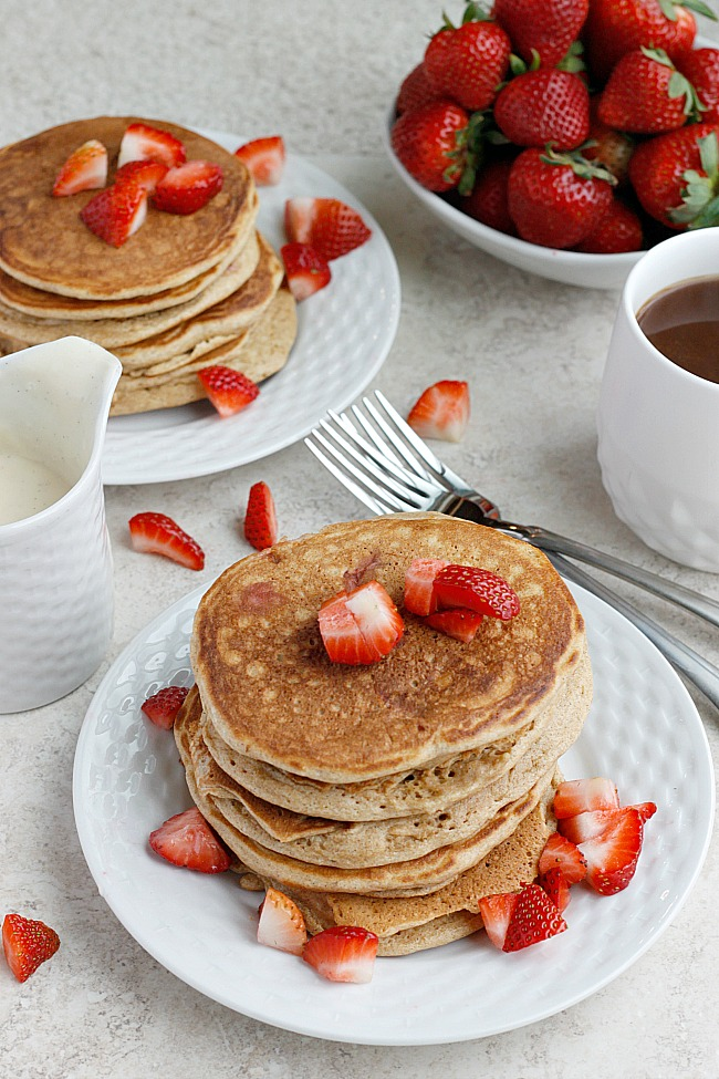 Strawberry Pancakes with Vanilla Bean-Mascarpone Syrup | Fabtastic Eats
