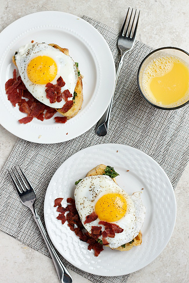 Two Cheese French Toast with Garlic Kale and Egg